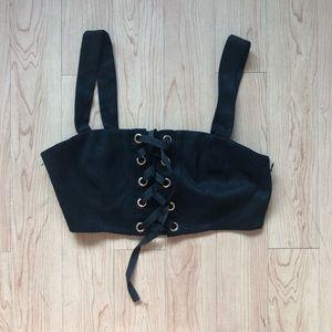 Black corset tie crop top